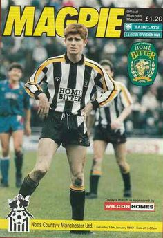 Notts Co 1 Man Utd 1 in Jan 1992 at Meadow Lane. The programme cover #Div1