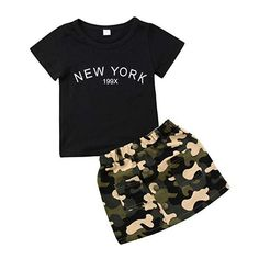 Toddler Baby Girls Camouflage Clothes Outfit Black Tops T-Shirt Skirt Dress Summer Clothing Set: Clothing Camo Outfits, Cute Girl Outfits, Cute Outfits For Kids, Summer Outfits, Dress Summer, Summer Clothes, Cute Clothes For Kids, Leopard Outfits, Girls Fashion Clothes