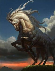 """""""Sleipnir is the 8 legged steed that carries Odin, is the child of Loki and Svaðilfari, is described as the best of all horses, and is sometimes ridden to the location of Hel. The Prose Edda contains..."""
