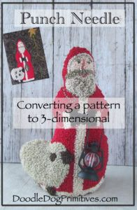 Converting a flat punch needle pattern to a figure - DoodleDog Designs Primitives Hook Punch, Weavers Cloth, Christmas Punch, Punch Needle Patterns, Penny Rugs, Chalk Pastels, Craft Shop, Hand Embroidery, Embroidery Ideas