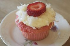 Strawberry Coconut Cupcakes - Perfect with tea! I never make the frosting, they're yummy on their own.