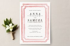Simple, with a touch of color and framed design  Frame Wedding Invitations by Laura Condouris at minted.com