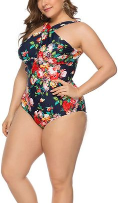 QZUnique Women's One Piece Swimwear Tummy Control Swimsuits Monokinis Plus Size at Amazon Women's Clothing store