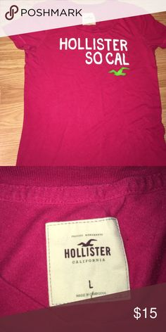 A Hollister shirt A pink-ish shirt that has white font with a green eagle// a tight shirt that will show your upper body shape well// size in petite and or adolescents Hollister Tops Tees - Short Sleeve