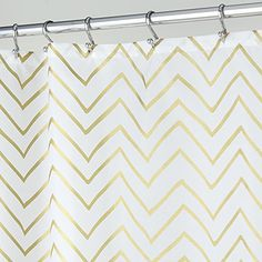 """InterDesign Sketched Chevron Soft Fabric Long Shower Curtain, 72 x 84"""", Silver"""