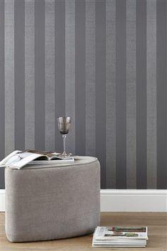Glitter Stripe Pewter Wallpaper