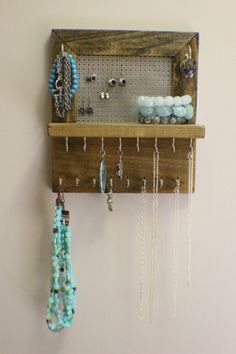 Do it yourself hanging jewelry display jewellery display small mini ash and chrome wall mounted jewelry organizer wall organizer jewelry display necklace holder earring organizer solutioingenieria Images