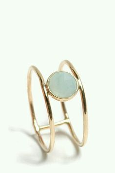 Double band with a cloudy blue moonstone