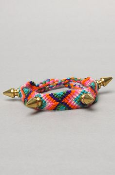 The Spike Friendship Bracelet in Pink Multi and Gold by Harlett