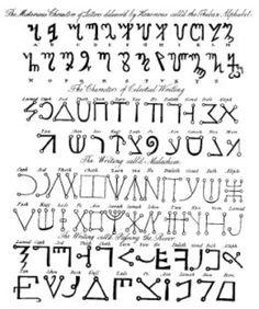 "Magical Alphabet from the book ""The Magus"" by Francis Barrett Alphabet A, Alphabet Symbols, Ancient Scripts, Ancient Symbols, Viking Symbols, Egyptian Symbols, Viking Runes, Tattoo Painting, Occult Symbols"