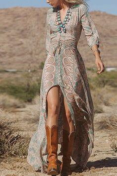 Hendidura frontal Impresión maxi del vestido de Bohemia - US$19.95 -YOINS