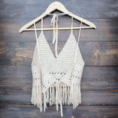 festival fringe crochet halter top in sand - shophearts - 2