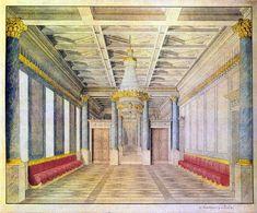 Berlin, Palais Wilhelmstraße 65, Der Festsaal auch teilweise Tanzsaal oder Blauer Saal genannt: Entwurf von K. F. Schinkel von 1816