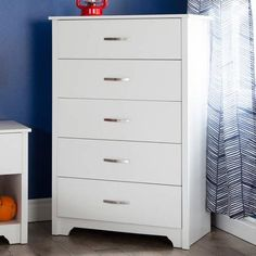 Shop Staples for great deals on South Shore Vito Chest, Pure White , (L) x (D) x (H). 5 Drawer Dresser, 5 Drawer Chest, Chest Of Drawers, Vanity Drawers, Dresser Sets, Shabby Chic Furniture, Bedroom Furniture, White Furniture, Furniture Decor