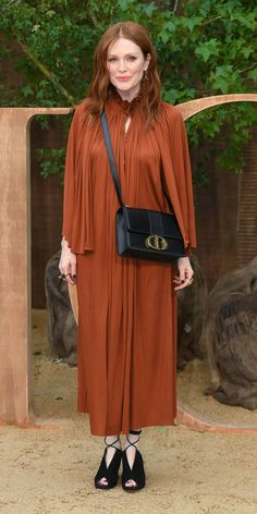 Julianne Moore attended the Dior presentation in a burnt orange dress, Dior crossbody bag, and lace-up, peep-toe booties. Celebrity Outfits, Celebrity Style, Cage Skirt, Burnt Orange Dress, Red Carpet Gowns, Julianne Moore, Office Looks, Green Blouse, Cool