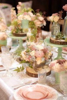 Absolutely love this rustic vintage themed table scape! Great attention to details and love the soft feel.