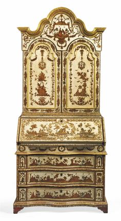 A NORTH ITALIAN WHITE AND RED-PAINTED LACCA POVERA BUREAU-CABINET - PROBABLY VENICE, 18TH CENTURY, REDECORATED IN THE 19TH CENTURY.