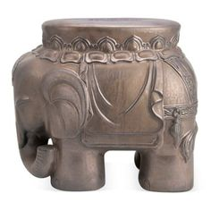 Check out this item at One Kings Lane! Elephant Stool, Brushed Bronze