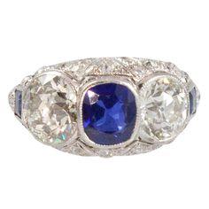1stdibs.com   Edwardian Platinum, Diamond and Sapphire Ring