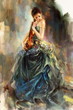 "Anna Razumovskaya Hand Signed and Numbered Limited Edition Artist Embellished Canvas Giclee: ""Resonance"""