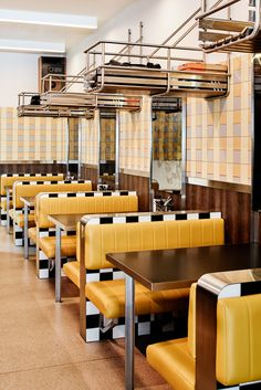 Vintage Interior Design Biggie Smalls – New York Inspired Diner - Technē Architecture Interior Design creates New York inspired diner, Biggie Smalls. Known for his high-end Middle Eastern restaurant Maha, acclaimed Melbourne Restaurant Trends, Diner Restaurant, Restaurant Seating, Luxury Restaurant, Restaurant Interior Design, Vintage Restaurant Design, Modern Restaurant, Vintage Diner, Retro Diner