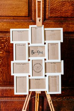 Table Plan Seating Chart Mini Frames Easel Stylish Sassy Gin Wedding http://epiclovestory.co.uk/