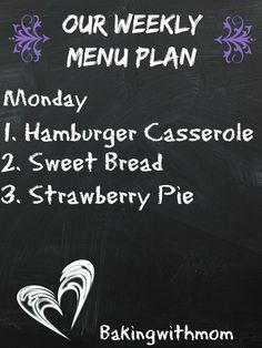 Menu Plan saves time and money at the grocery store. Here is our weekly menu with recipes and menu ideas