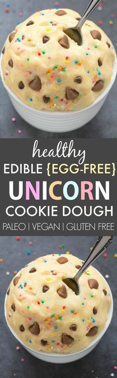 Healthy Edible Egg-Free Unicorn Cookie Dough (V, GF, DF, P)- Easy guilt-free and edible flourless cookie dough inspired by the unicorn frappuccino- Ready in 5 minutes and NO beans! Paleo Dessert, Gluten Free Desserts, Healthy Desserts, Just Desserts, Delicious Desserts, Dessert Recipes, Yummy Food, Healthy Meals, Tasty