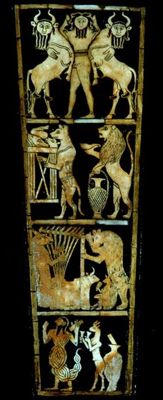 "Inlay panel from the soundbox of a lyre, from Ur; 2600 B.C.; Gold, lapis lazuli, shell and bitumen; 12 1/4 x 4 1/2""- the top and bottom panels are from the epic of Gilgamesh; the central panels are as yet of unknown Sumer-ian legend (possibly an animal fable)"