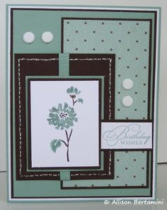 Embellished Paper: Sage Watercolor Wishes Stampin Up, watercolor trio