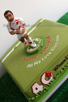 I made this cake for Jason Robinsons birthday. He used to play Rugby for England, so the model on top is him in his kit :) 40th Birthday, Birthday Cakes, England Rugby Players, Rugby Cake, Jason Robinson, Zoes Fancy Cakes, Football Cakes, Cake Models, Sport Cakes