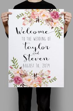 ded30258a937 Printable Wedding Sign Welcome Wedding Sign Floral Wedding