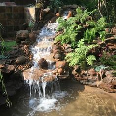 here's a water feature for the fairy garden hillside