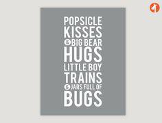 Bear Hugs - Baby Boy Nursery, Printable Art, Prints, Kids Wall Art Baby Boys Room, Baby Nursery Decor Playroom Rules Quote Art