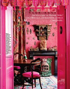 "Indian style - This ""Bollywood boudoir"" was featured in Marie Claire Maison (France) and it takes pink to a whole new level. It look rich, sensuous and with exquisite layering of patterns Shabby Chic Mode, Style Shabby Chic, Parisian Chic, Boho Chic, Estilo Kitsch, Pink Room, Home And Deco, My New Room, Bohemian Decor"