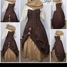 Steampunk Dress, Victorian Steampunk, Dress Outfits, Cool Outfits, Dresses, Medieval Dress Pattern, Pirate Fashion, Waist Cincher Corset, Tartan Fabric