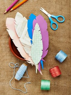 Create fabric and paper feathers with our exclusive feather template
