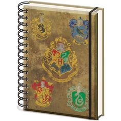 Harry Potter Hogwarts Crest A5 Wiro Notebook ($12) ❤ liked on Polyvore featuring home, home decor and stationery