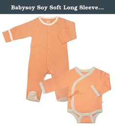 Babysoy Soy Soft Long Sleeve Kimono Bodysuit and Footie Set in Cantaloupe (6-12M). Save when you buy as a set. Set includes 1 long sleeve kimono bodysuit & 1 footie 50% cotton + 50% azlon from soy Eco friendly, fairly made, affordable, quality baby clothes Machine wash & dry cold.