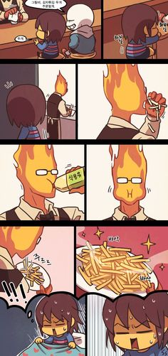 Ssalbulre tumblr- Undertale funny comic, how Grillby makes his fries