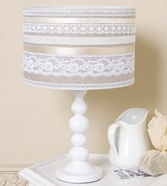 Finding the perfect lamp for your home can be hard because there is such a wide range of lamps available. Get the perfect living room lamp, bedroom lamp, table lamp or any other type for your particular area. Ribbon Lamp Shades, Lamp Makeover, Diy Chandelier, Chandeliers, Bedroom Lamps, Home And Deco, Shabby Chic Furniture, Lampshades, Light Decorations