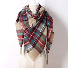 2015 Brand Cashmere Design Triangle Scarf Plaid Fashion Warm in Winter Shawl For Women pashmina shawl M8062(China (Mainland))