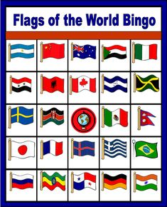 Flags of the World Bingo - free printable (only enough for 6 players though, but could make more by taping on different flags over a square).
