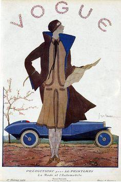 Vogue Cover - March 1926 By: Georges Lepape Vogue Magazine Covers, Fashion Magazine Cover, Fashion Cover, Magazine Art, Anna Wintour, Art Nouveau, Vintage Vogue Covers, Magazin Covers, Art Deco Illustration