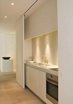 Hidden kitchen for open plan living area & hiding kitchen mess! Contemporary Kitchen Cabinets, Modern Kitchen Design, Kitchen Cabinet Design, Kitchen Interior, Interior Doors, Contemporary Interior, Small Apartments, Small Spaces, Küchen Design