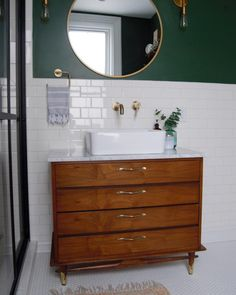home accents bathroom Mid-century modern dresser vanity Mid Century Modern Bathroom, Mid Century Modern Dresser, Modern Bathroom Design, Bathroom Interior, Modern Interior Design, Modern Decor, Mid-century Modern, Mid Century Bathroom Vanity, Modern Homes