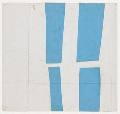 """Ellsworth Kelly. Blue and White. 1951 Ink on paper and gouache on paper. 7 1/2 x 8"""""""