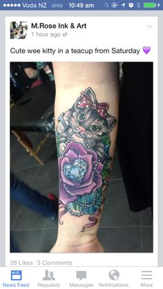 My gorgeous tattoo! Cat with a rose in a teacup. So gorgeous and femme.  Love it xo