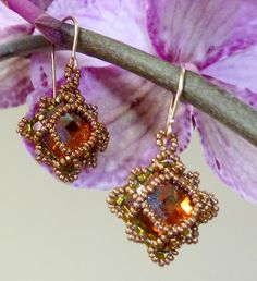 Luisa Earrings - Crystal Copper and Golden Lustre