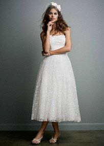 Embroidered Tea Length Gown with Ruched Waist
